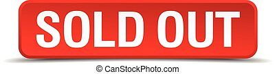 Sold out red 3d square button isolated on white