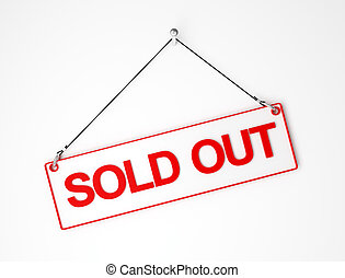 sold out red and white signal board 3d background