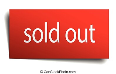 sold out red paper sign isolated on white