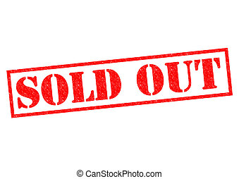 SOLD OUT red Rubber Stamp over a white background.