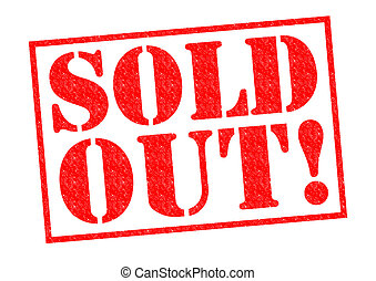 SOLD OUT! red Rubber Stamp over a white background.