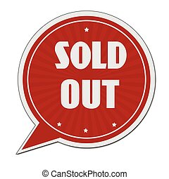 Sold out red speech bubble label or sign