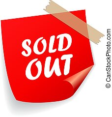 Sold out red vector sticker