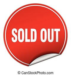 sold out round red sticker isolated on white