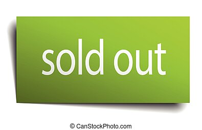 sold out square paper sign isolated on white