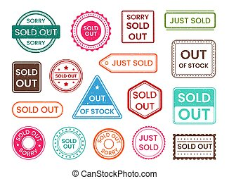 Sold out stamp, out of stock shopping sale label set