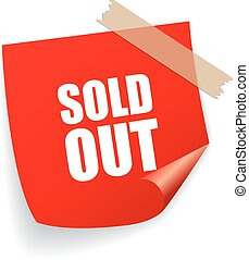 Sold out sticker isolated on white background