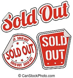 Sold out sticker set on white