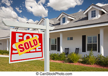 Sold Real Estate Sign and House - Left - Sold Home For Sale...