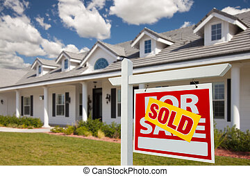 Sold Real Estate Sign and House - Right - Sold Home For Sale...