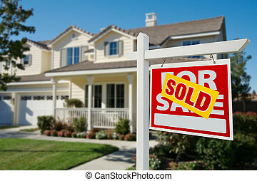 Sold Real Estate Sign and House - Sold Home For Sale Real...