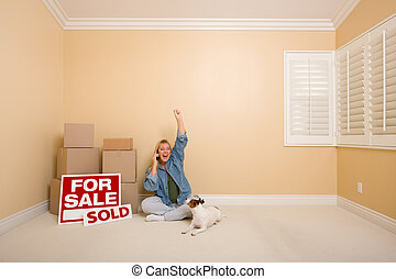 Sold Real Estate Signs, Boxes and Happy Woman on Phone -...