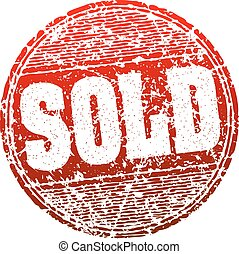 Sold red grunge style vector rubber stamp