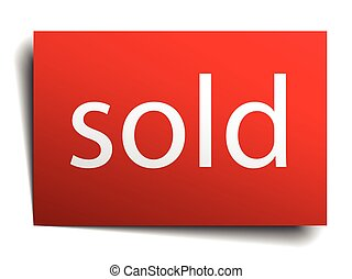 sold red paper sign isolated on white