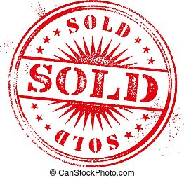 sold red round grungy vintage isolated stamp