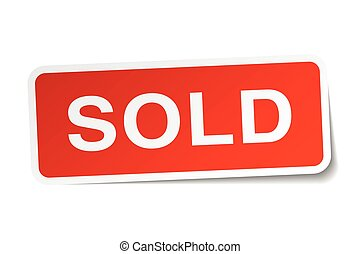 sold red square sticker isolated on white