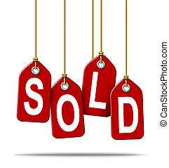 Sale and selling retail price tag sign with the text sold as a red label with hanging strings tied to the paper commercial symbols of merchandise or services that have been purchased from a store on white.