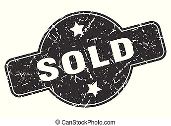 sold round grunge isolated stamp