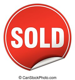 sold round red sticker isolated on white