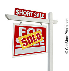 Sold Short Sale Real Estate Sign Isolated - Left