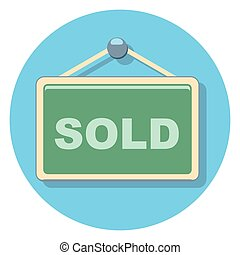 sold sign circle icon with shadow