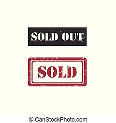 Sold / Sold out rubber stamp vector image