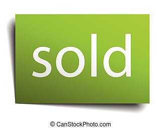 sold square paper sign isolated on white