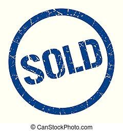sold stamp - sold blue round stamp