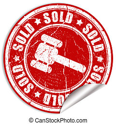 Sold sticker isolated on white