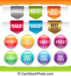Sold Stickers And Ribbons, Isolated On White Background,...