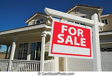 sold tekenen, woning, verkoop, thuis, &, nieuw