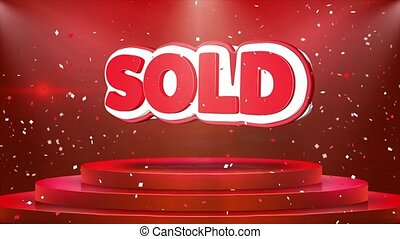 Sold Text Animation Stage Podium Confetti Loop Animation