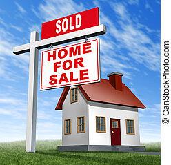 sold, thuis, te koop teken, en, woning