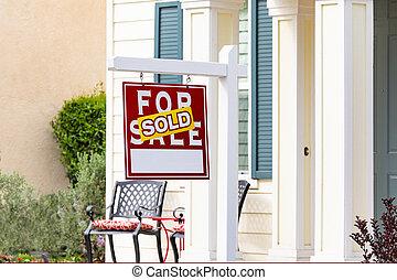 sold, thuis, te koop, vastgoed voorteken, voor, nieuw huis