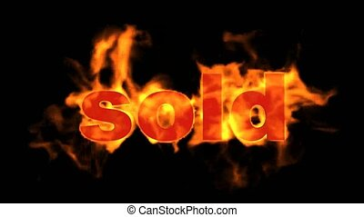 sold., vendu, chaud, mot, brûlé