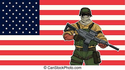 soldaat, amerikaan, achtergrond