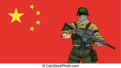 soldaat, chinees, achtergrond