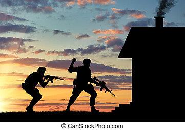 soldaat, exploratie, silhouette