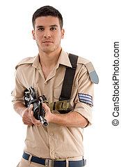 soldaat, met, geweer, in, handen