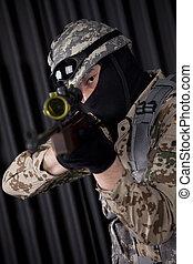 soldaat, mikkend, geweer