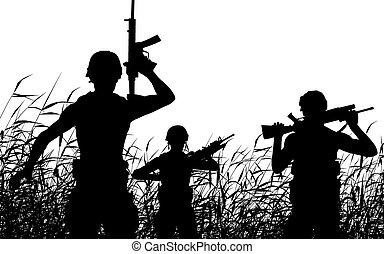 soldaat, patrouille, silhouette