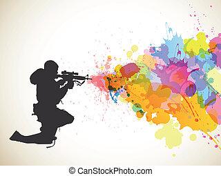 soldaat, plonsen, kleurrijke