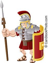 soldaat, romein, sterke, illustratie