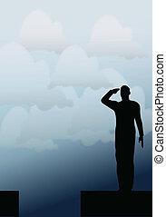 soldaat, salut, silhouette, leger