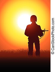 soldaat, silhouette