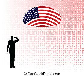 soldaat, silhouette, leger