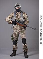 soldaat, sluipschutter, geweer