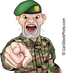 soldaat, spotprent, wijzende