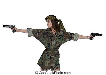 soldaat, vrouw