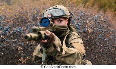 soldaat, wapen, vrouw